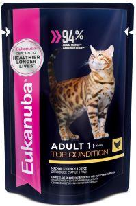 EUK Cat паучи корм для взрослых кошек с курицей в соусе 85 гр.
