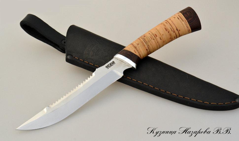 Нож Рыбак 2, сталь 95х18, береста