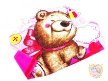 "Плед детский 100х110 C-PO000-VS (велсофт травка розовый медвежонок) код 01796 оптом ""Мамин Малыш"""