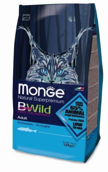 Monge BWild Cat Anchovies корм для взрослых кошек с анчоусами