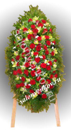Элитный траурный венок из живых цветов №103, РАЗМЕР 100см,120см,140см,170см