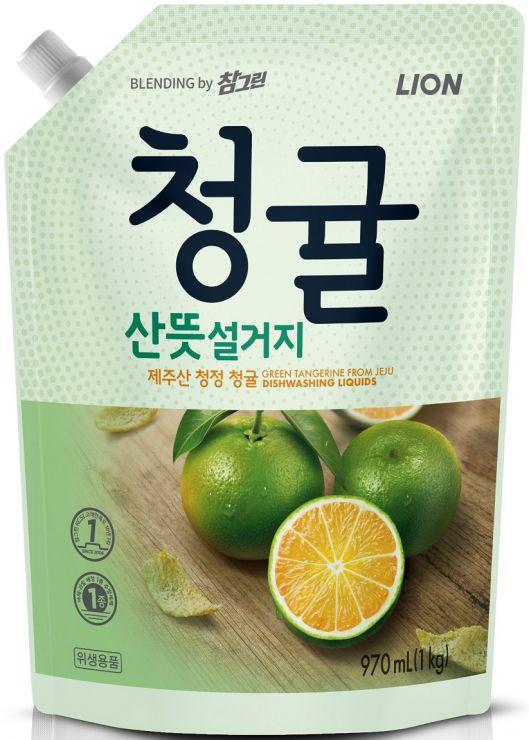 CJ Lion Средство для мытья посуды Chamgreen Зелёный цитрус мягкая упаковка 970 мл
