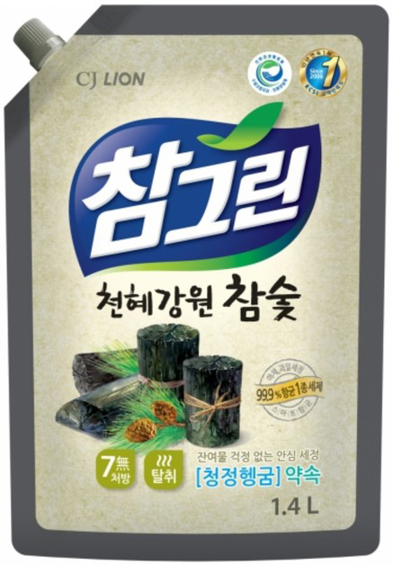 CJ Lion Средство для мытья посуды Chamgreen с древесным углём мягкая упаковка 1350 мл
