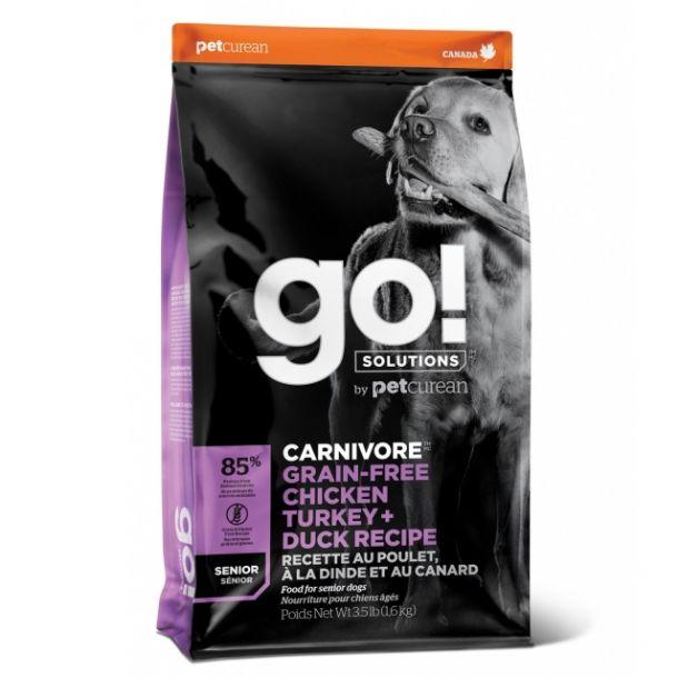 Корм сухой GO CARNIVORE GF беззерновой для пожилых собак всех пород 4 вида мяса: Индейка, Курица, Лосось, Утка 10 кг