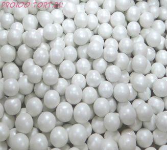 """Шарики сахарные """" Жемчуг Белый"""" ( d-5мм) перламутровый вес 50 гр."""