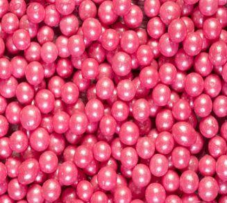 """Шарики сахарные """" Жемчуг Малиновый"""" ( d-5мм) перламутровый вес 50 гр."""
