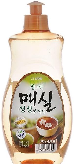CJ Lion Средство для посуды, фруктов, овощей Chamgreen Японский абрикос пуш-пул 480 мл