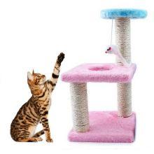 Трёхъярусный игровой комплекс-когтеточка с мышкой, Цвет Розовый