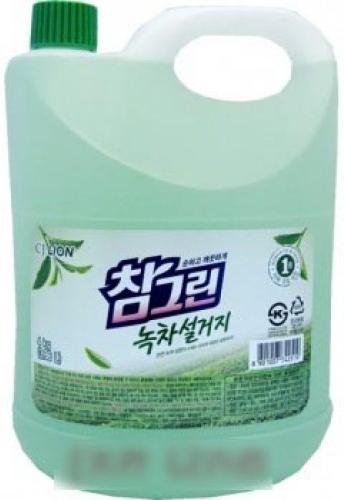 CJ Lion Средство для мытья посуды, фруктов, овощей Chamgreen Зелёный чай флакон 3830 мл