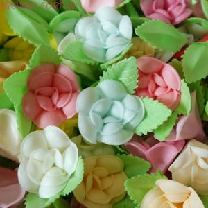 Вафельные цветы ФИАЛКИ на двулистнике 10 шт/уп.