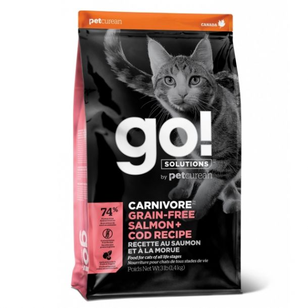 Корм сухой GO CARNIVORE GF Salmon + Cod беззерновой корм для котят и кошек, с лососем и треской 1.4кг