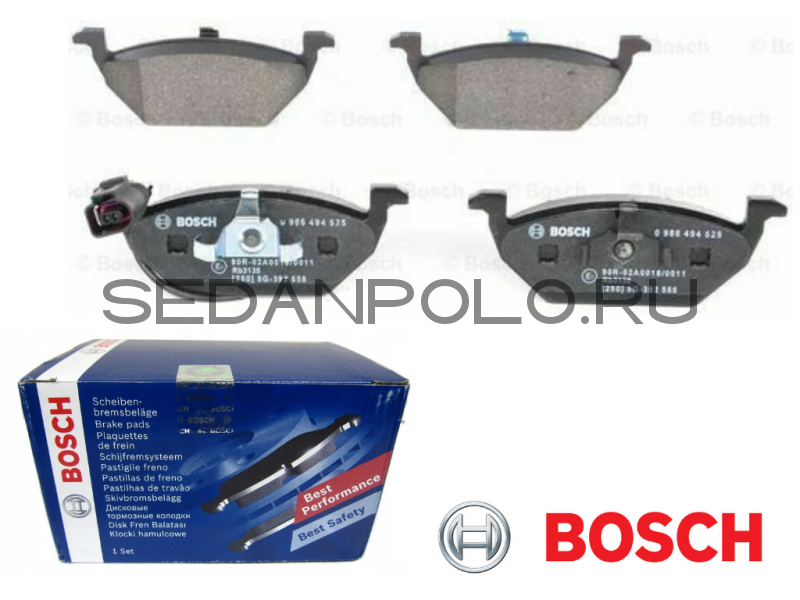 Колодки тормозные Bosch для Volkswagen Polo Sedan суппорт 1ZG