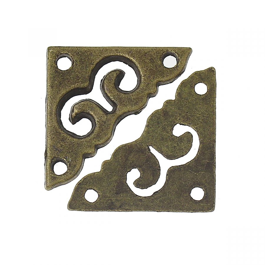 Уголок для шкатулки резной, литой, бронза, 20 мм, 4 шт/упак