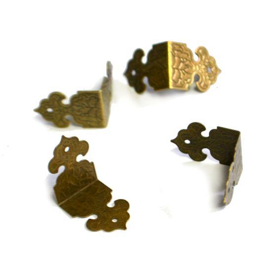 Накладка для шкатулки скоба, чеканка, бронза, 25 мм, 4 шт/упак