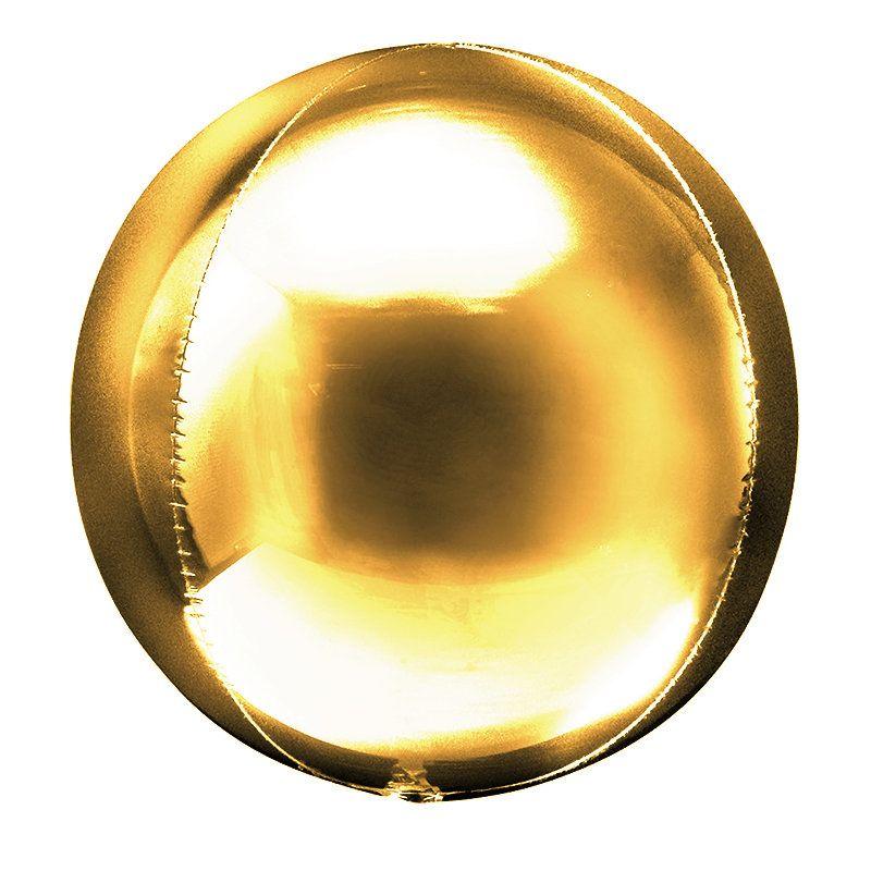 """Шар фольга без рисунка Сфера 3D 20"""" Золото"""