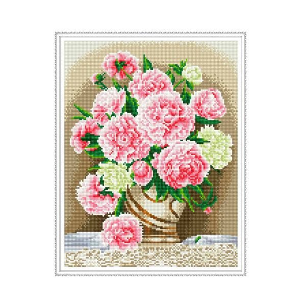 Набор Алмазная мозаика Бузин.Розовые пионы с рамкой 40*50см