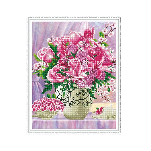 Набор Алмазная мозаика Розовый букет с рамкой 40*50 см