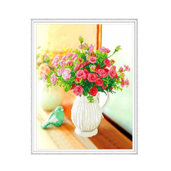 Набор Алмазная мозаика Цветы в кувшине с рамкой 40*50 см