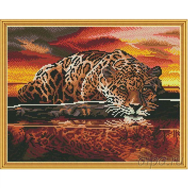 Набор Алмазная мозаика Ягуар с рамкой 40*50 см