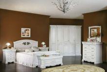 Спальня ЛАУРА белый с перламутровой патиной 4-дверный шкаф