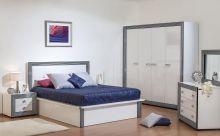 Спальня НАОМИ белый с серебряной патиной 4-дверный шкаф