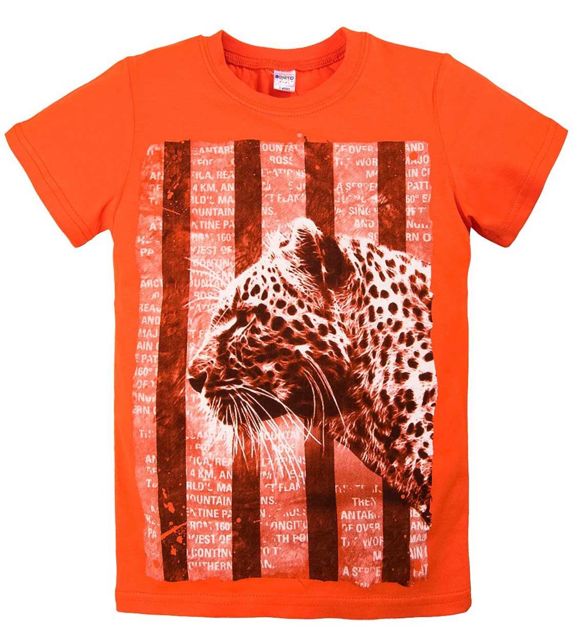 Футболка для мальчика с принтом леопарда оранжевая