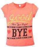 Футболка для девочки с надписью Good BYE коралловая