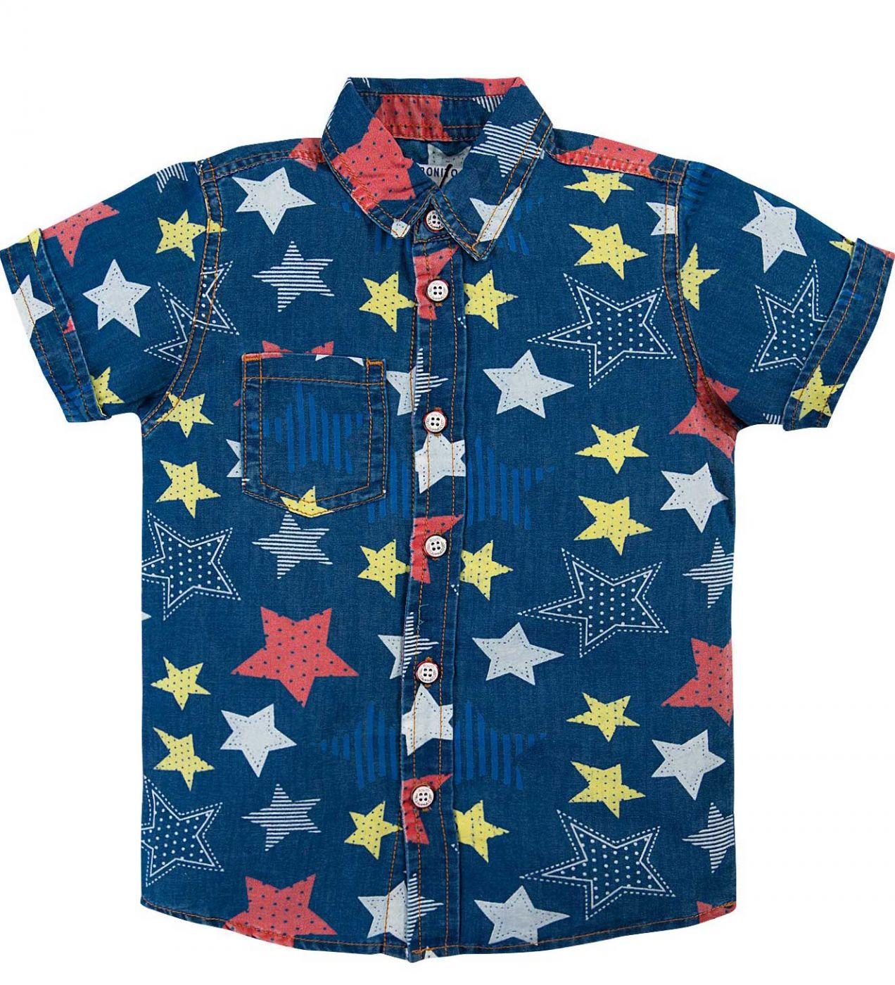 Джинсовая рубашка для мальчика Bonito Jeans синий со звездами