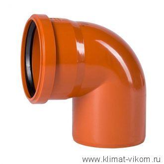 Отвод 87 град-110мм РЫЖИЙ нар.канализ.