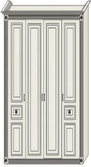Шкаф двухдверный бельевой с двумя пилястрами