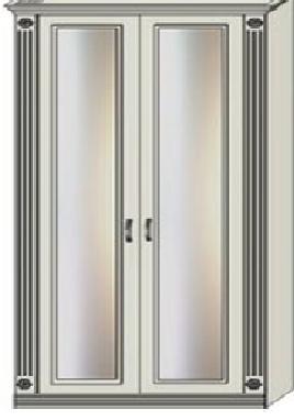 Шкаф двухдверный платяной зеркальный с двумя пилястрами