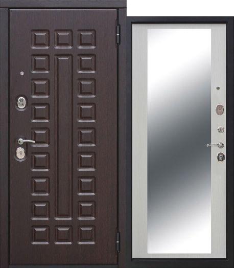 Входная дверь 10 см Монарх зеркало  Белый ясень