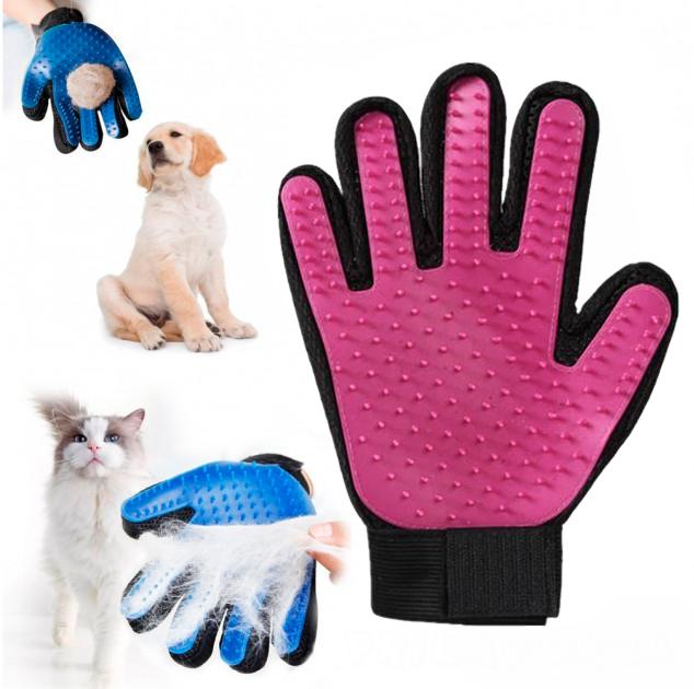 Перчатка для вычёсывания шерсти животных True Touch,розовый