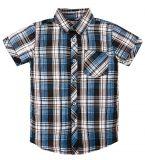 синяя детская клетчатая рубашка с короткими рукавами, нагрудным кармашкам