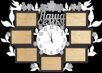 Часы с фоторамками настенные наша семья серо-черные