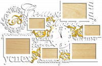 Часы с фоторамками настенные семья с гербом