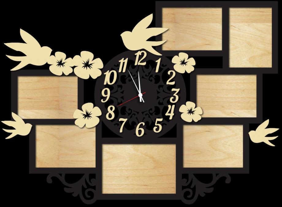 Часы настенные с фоторамками с птицами и цветами