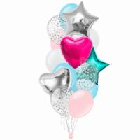 Композиция бирюзовый розовый с серебряным конфетти