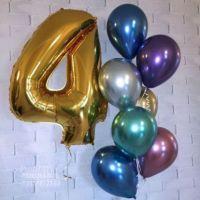 Хромовые шарики с  1 цифрой шаром 86 см