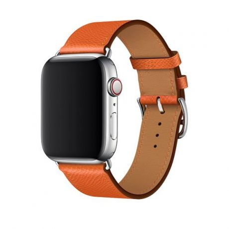 Apple Watch Hermes Stainless Steel Series 4 44mm GPS + Cellular Feu Epsom Leather Single Tour