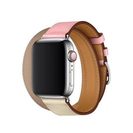 Apple Watch Hermes Series 4 Stainless Steel 40mm GPS + Cellular Rose Sakura/Craie/Argile Swift Leather Double Tour
