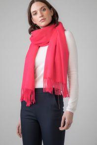 Роскошная классическая шотландская  шаль, высокая плотность, 100 % драгоценный кашемир Hot Pink 100% Cashmere ,ярко-розовая расцветка (премиум)