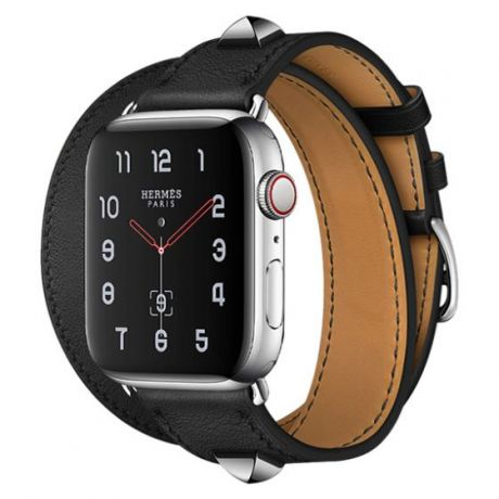 Apple Watch Hermes Series 4 Stainless Steel 40mm GPS + Cellular Medor Noir Swift Leather Double Tour