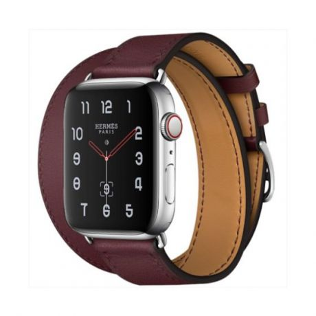 Apple Watch Hermes Series 4 Stainless Steel 40mm GPS + Cellular Bordeaux Swift Leather Double Tour