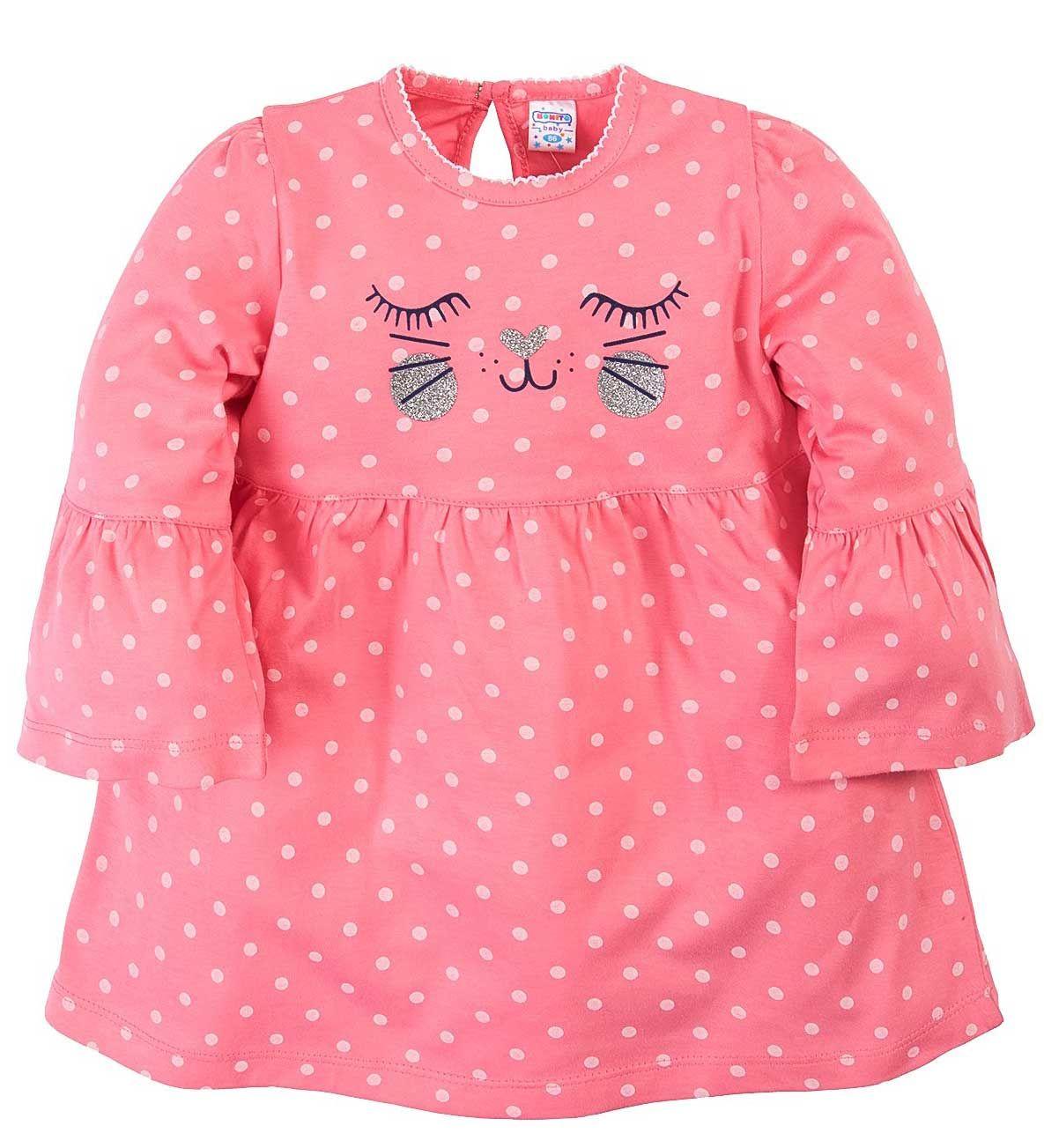 Платье для девочек.Bonito коралловое в горошек