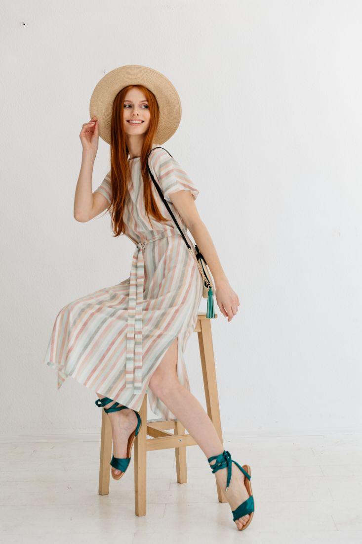 m2183 Платье-миди в цветную елочку