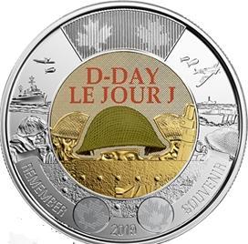 75 лет высадки в Нормандии 2 доллара Канада 2019 цветная