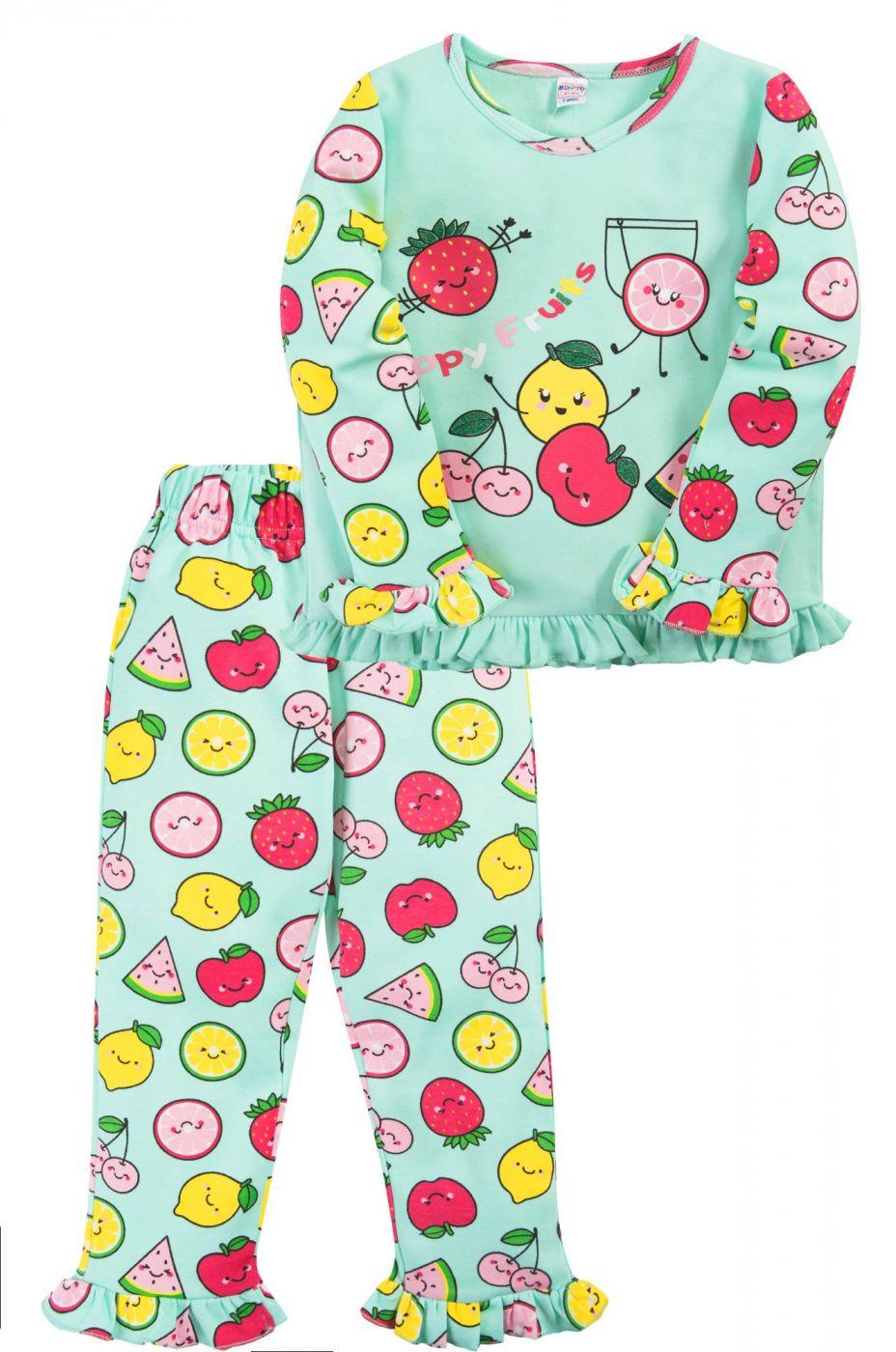 Пижама для девочки Bonito ментоловая Happy Fruits