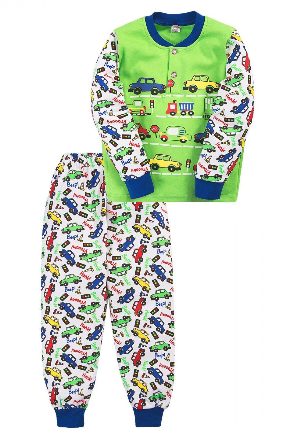 Пижама для мальчика Bonito зеленая с машинками