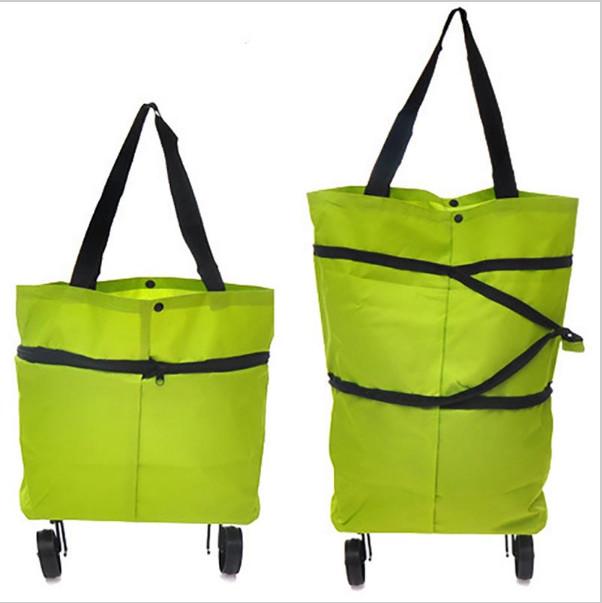 Складная сумка на колесиках, цвет Зеленый